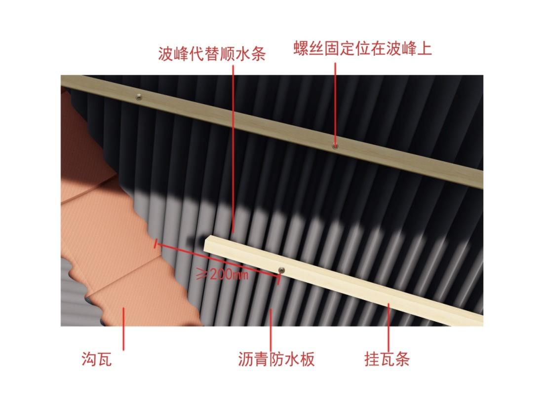 波形沥青防水板施工图